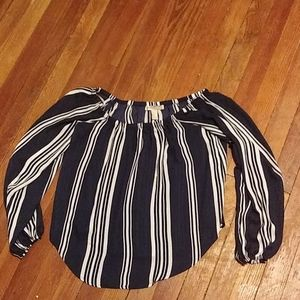 Forever 21 Navy Blue and White Blouse